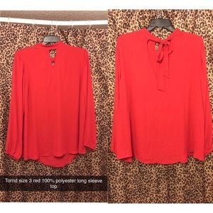 Torrid Size 3 Red Polyester Keyhole top